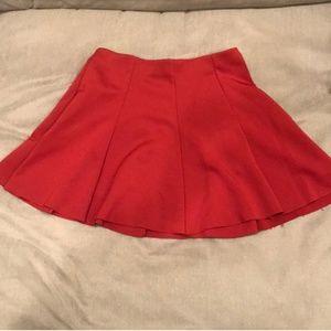 Burnt Orange ZARA Pleated full skater skirt